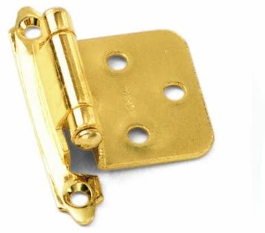 Laurey 28737-1000 No Offset Polished Brass Semi Concealed Cabinet Hinges