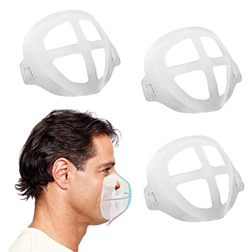 mask bracket for Comfortable Mask Wearing | 3D Silicone Mask Inner Support Frame | Keep Fabric off Mouth to Create More Breathing Space | Reusable Washable Translucent Pack of 3