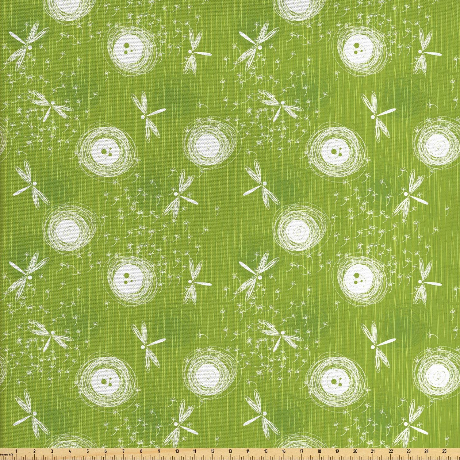 Ambesonne Dragonfly Fabric by The Yard, Sketch Style Dandelion Flower Petals Spring Beauty Nature Blossom Image, Decorative Fabric for Upholstery and Home Accents, Lime Green Cream