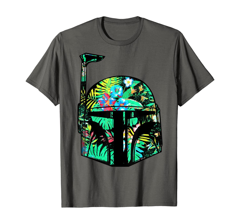 Star Wars Classic Hawaiian Print Boba Fett Helmet T-Shirt C2