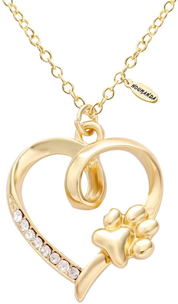 NOUMANDA Women Bijoux Dainty Golden Crystal Heart with Pet Cat Print Dog Paw Necklace