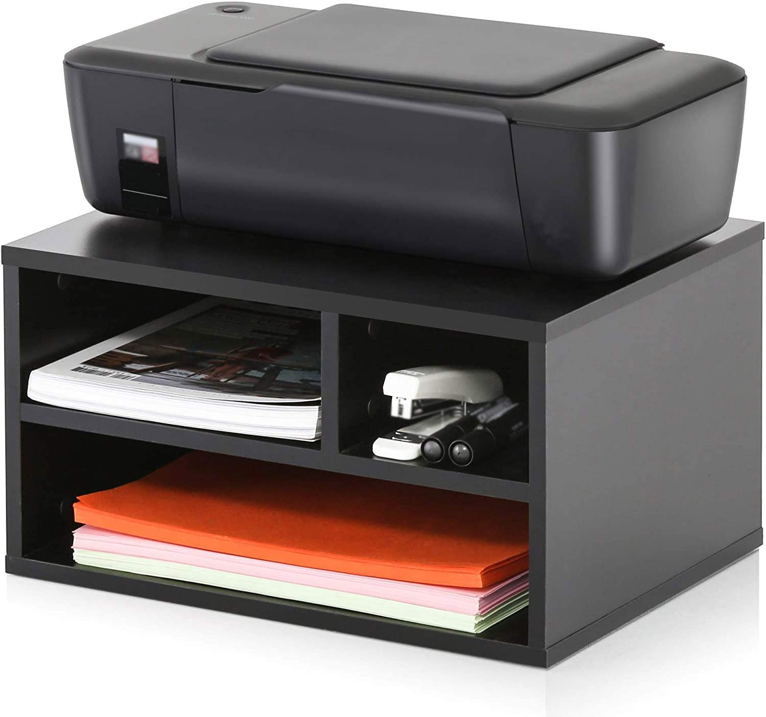 SEWMANCY Wood Printer Stand with Storage, Workspace Desktop Organizer for Home, Office, Black