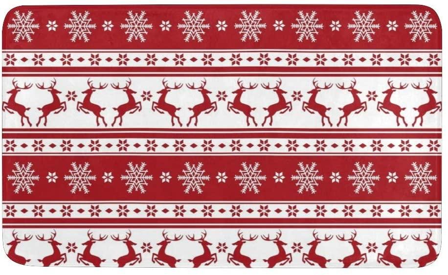 CUXWEOT Christmas Deer Snowflake Door Mat Entrance Door Rugs Non-Slip Backing Ultra Absorbent Welcome Doormat Decor Office Garden Kitchen Mats 23.6 x 15.7 Inch