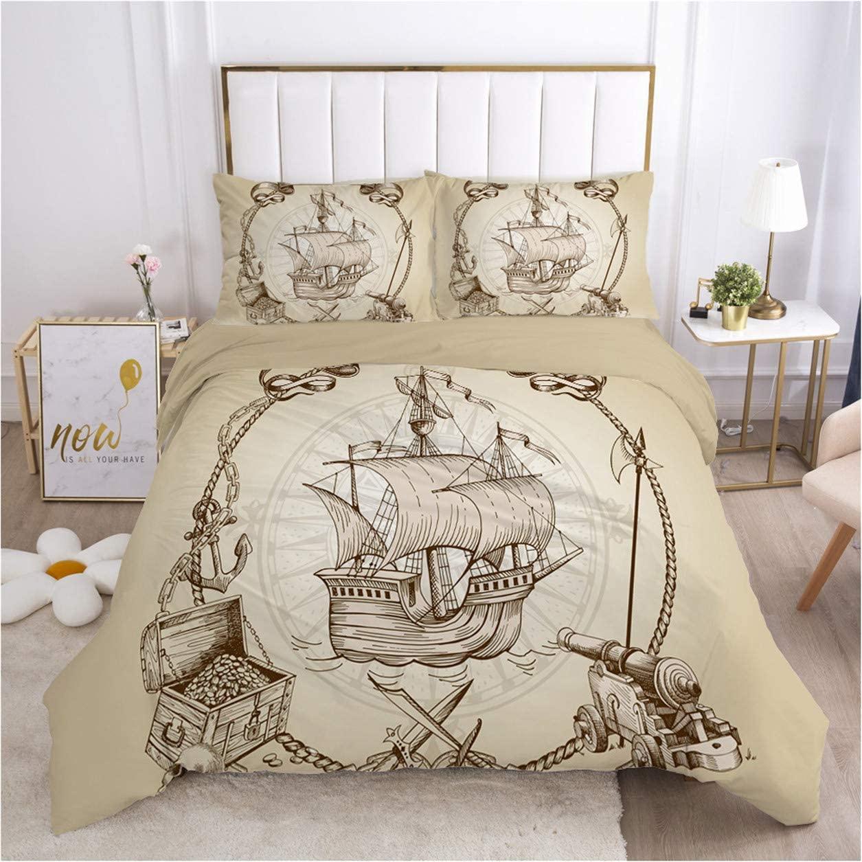 HMT NF Nautical Duvet Cover Set Sailboat Vintage Boat Bedding Set for Kids Soft Microfiber Full Size1 Duvet Cover + 2 Pillowcases