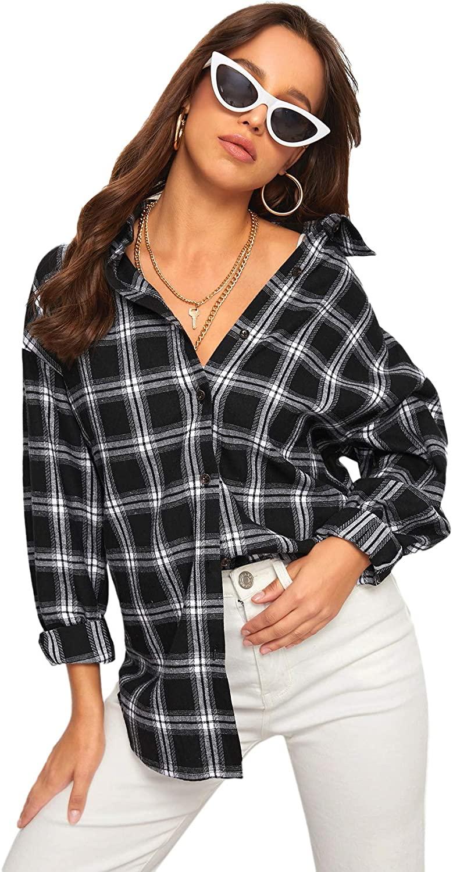 Verdusa Women's Casual Plaid Print Button Down Boyfriend Shirt Blouse Top