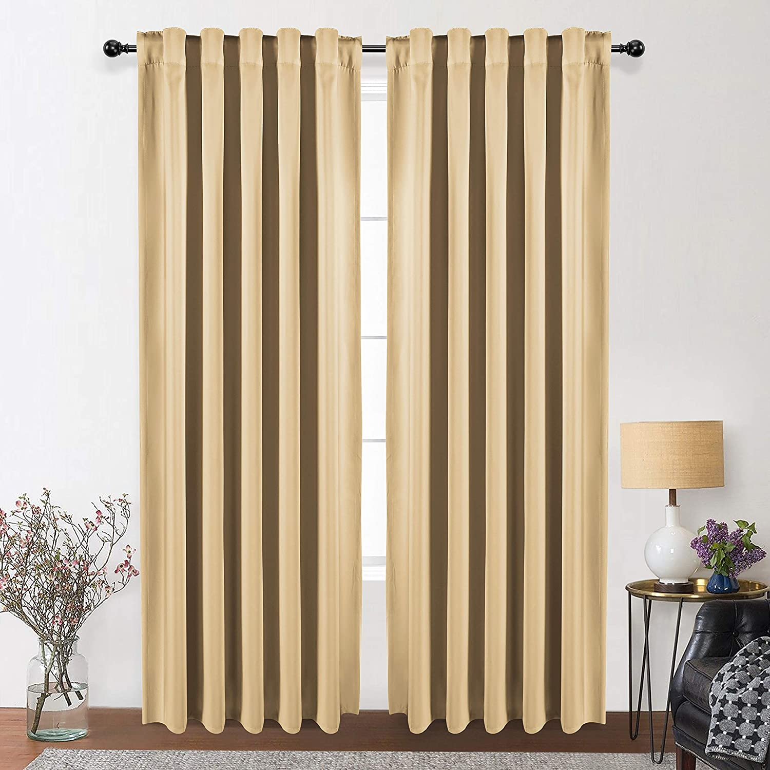 WONTEX Thermal Insulated Blackout Curtains, Back Tab and Rod Pocket Room Darkening Curtains for Living Room and Bedroom, Set of 2 Curtain Panels, 42 x 72 inch, Beige