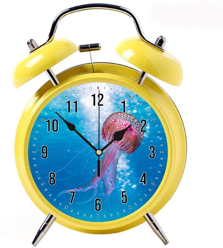 COPUEA Creative Child Retro Alarm Clock Twin Bell Alarm Clock Backlight Desk Clock Yellow Alarm Clock GiftShallow Focus Photo of Pink and Brown Jellyfish