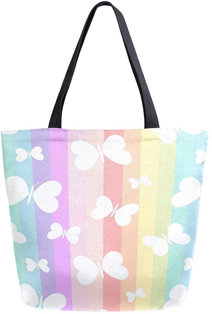 Woman Tote Bag Cute White Butterflies On Rainbow Stripes Shoulder Handbag for Work Travel Business Beach Shopping School