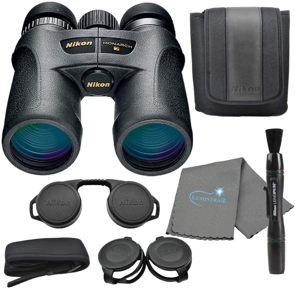 Nikon Monarch 7 10x42 Binoculars (7549), Black Bundle with a Nikon Lens Pen and Lumintrail Cleaning Cloth
