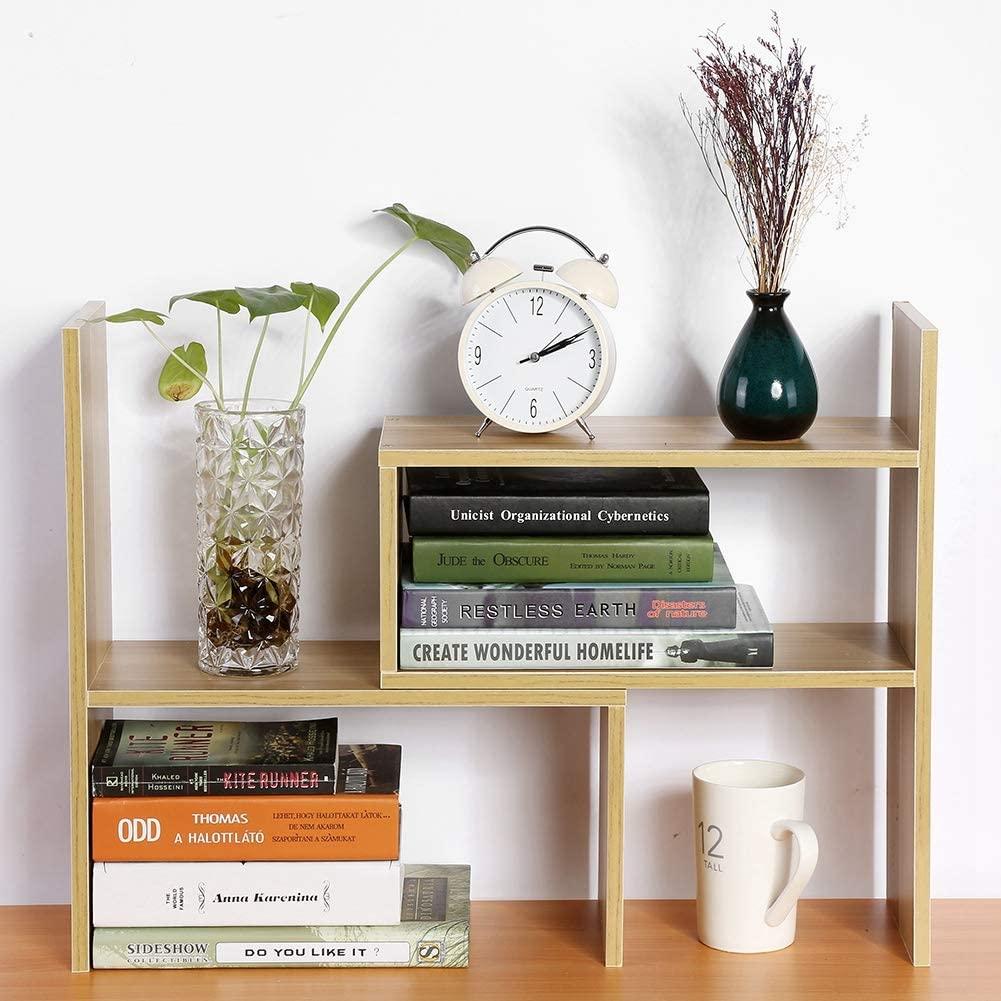 Desktop Organizer, Adjustable Wood Desktop Storage Rack Display Shelf Counter Top Bookcase for Home Office Use - Free Style Rotation Display(Wood Color)