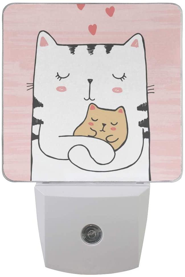 Plug in Night Light Lamp Cute Cat Hugs Baby with Hearts Dusk to Dawn Sensor LED Nightlight Smart Automatically Lights Bedroom, Bathroom, Kitchen, Hallway, Stairs, Energy