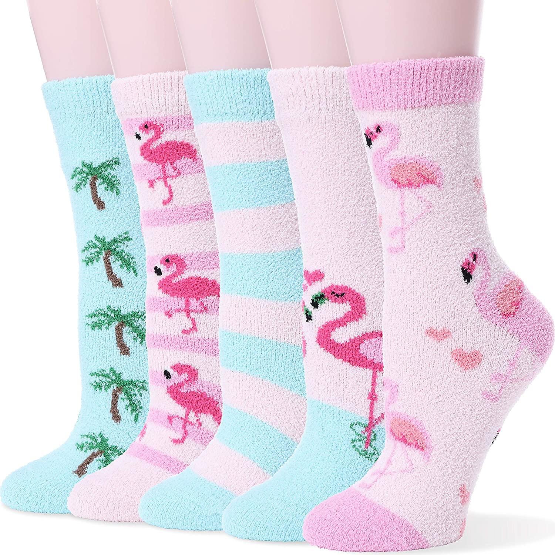 Womens Fuzzy Socks Soft Warm Fluffy Cute Cozy Winter Slipper Christmas Socks 5 Pairs