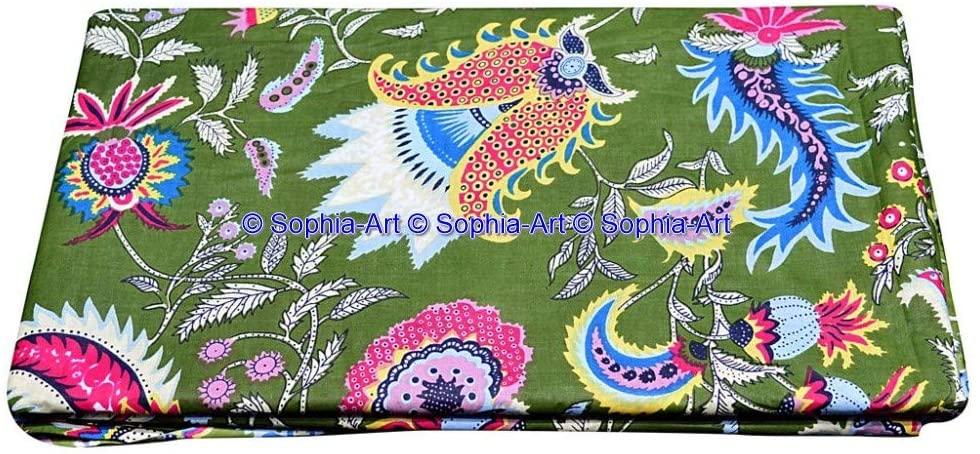 Voile Cotton Printed Sanganer Beautiful Jaipuri Floral Kurti Sewing Indian Craft Ethnic Dressmaking Gypsy Fabric by The Yard (Green, 15 Yard)