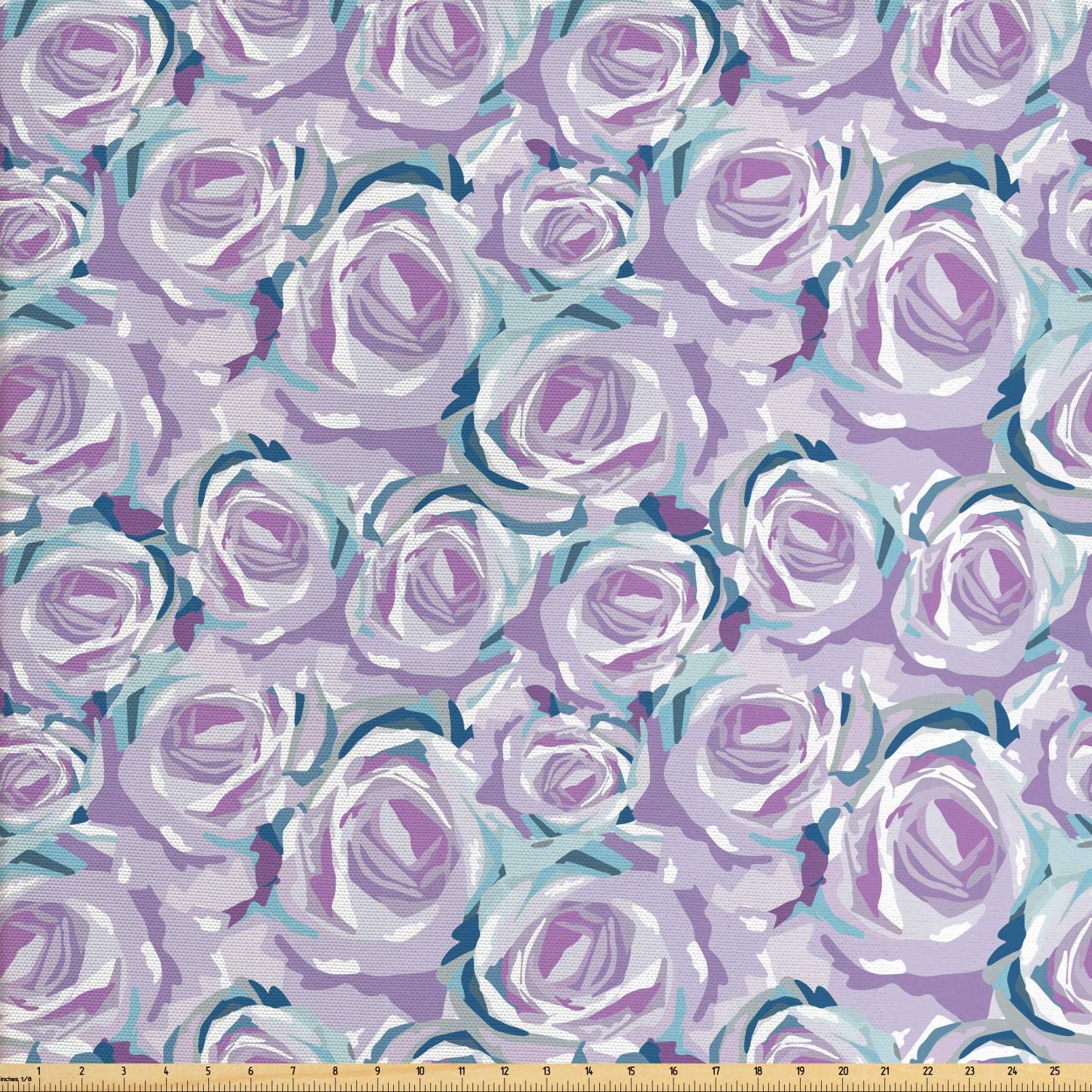 Ambesonne Floral Fabric by The Yard, Overview Pattern of Romantic Roses, Decorative Fabric for Upholstery and Home Accents, 1 Yard, Mauve Seafoam