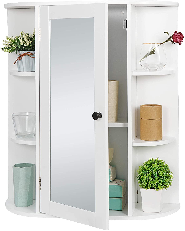 SUPER DEAL Bathroom Cabinet with Single Mirror Door Wall Mount Medicine Cabinet with 2 Tier Inner Adjustable Shelves Wooden Storage Organizer