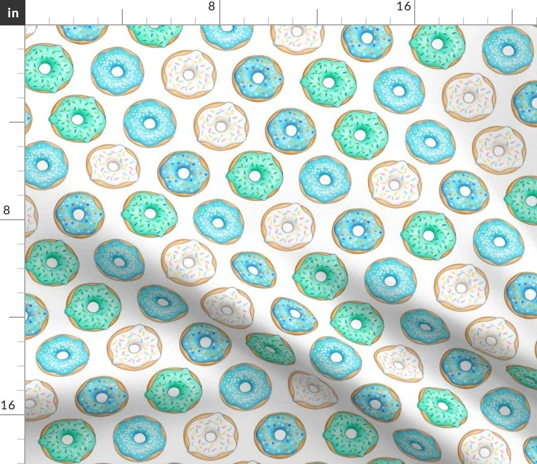 Spoonflower Fabric - Donuts Blue Cake Baking Food Doughnut Printed on Petal Signature Cotton Fabric by The Yard - Sewing Quilting Apparel Crafts Decor