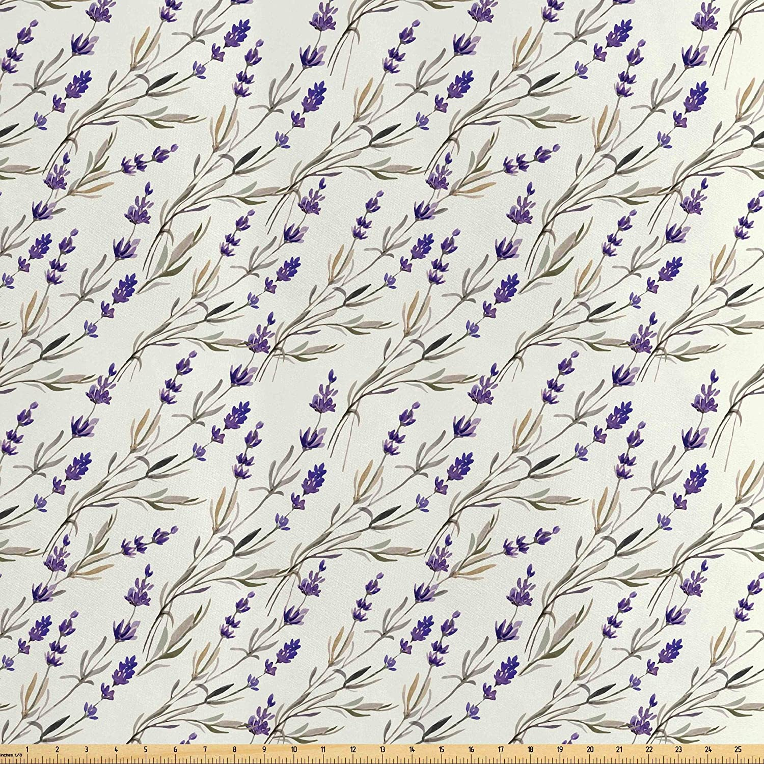 Lunarable Purple Fabric by The Yard, Lavender Paint Pattern French Fragrance Organic Herb Theme Country Cottage, Decorative Satin Fabric for Home Textiles and Crafts, 5 Yards, Violet Ivory Dust