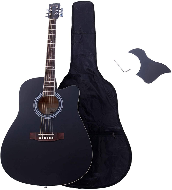 Glarry GT502 41-Inch Notch Spruce Panel Matte Edging Folk Guitar, Bag, Shield, Wrench Black - Affordable & Professional Student Guitar for Beginner Starter