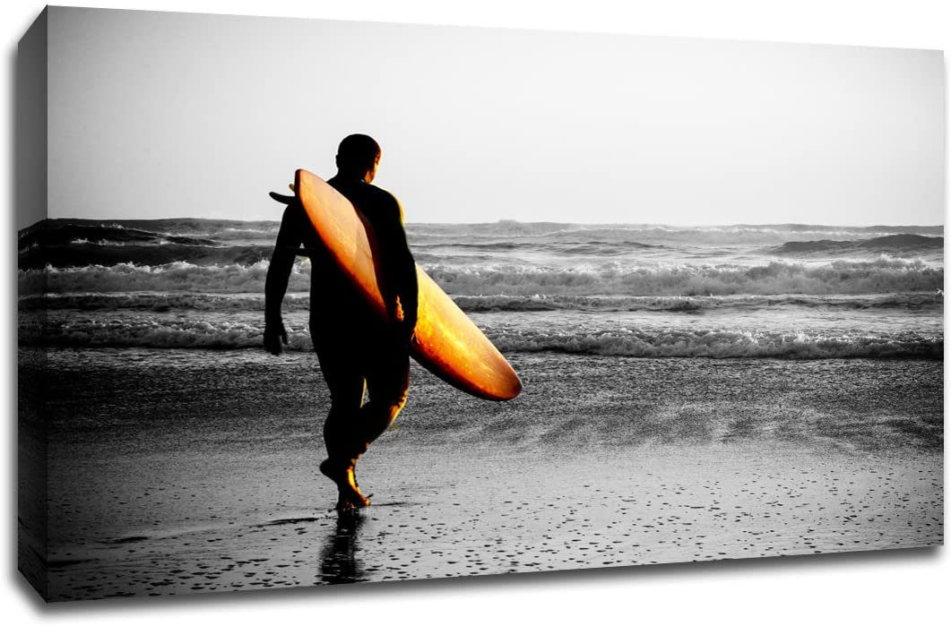 Surfer Walking The Beach - Touch of Color - 30x20 Gallery Wrapped Canvas Wall Art TOC