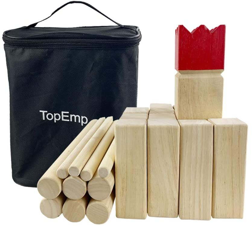 TopEmp Kubb Viking Chess Game, Wooden Outdoor Lawn Game Set, Fun Family Game for Backyard, Party, Great Gift for All Ages