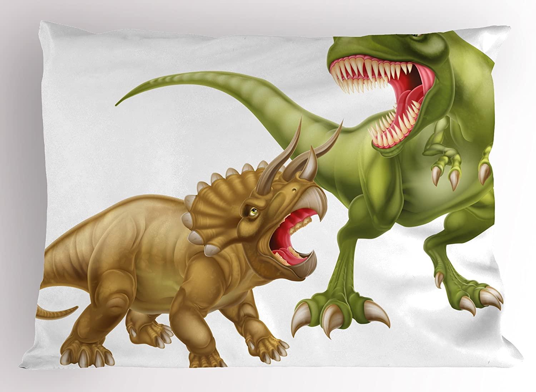 Ambesonne Dinosaur Pillow Sham, T Rex Versus Triceratops Scaring Each Other Wild Reptiles Dinosaur, Decorative Standard Queen Size Printed Pillowcase, 30