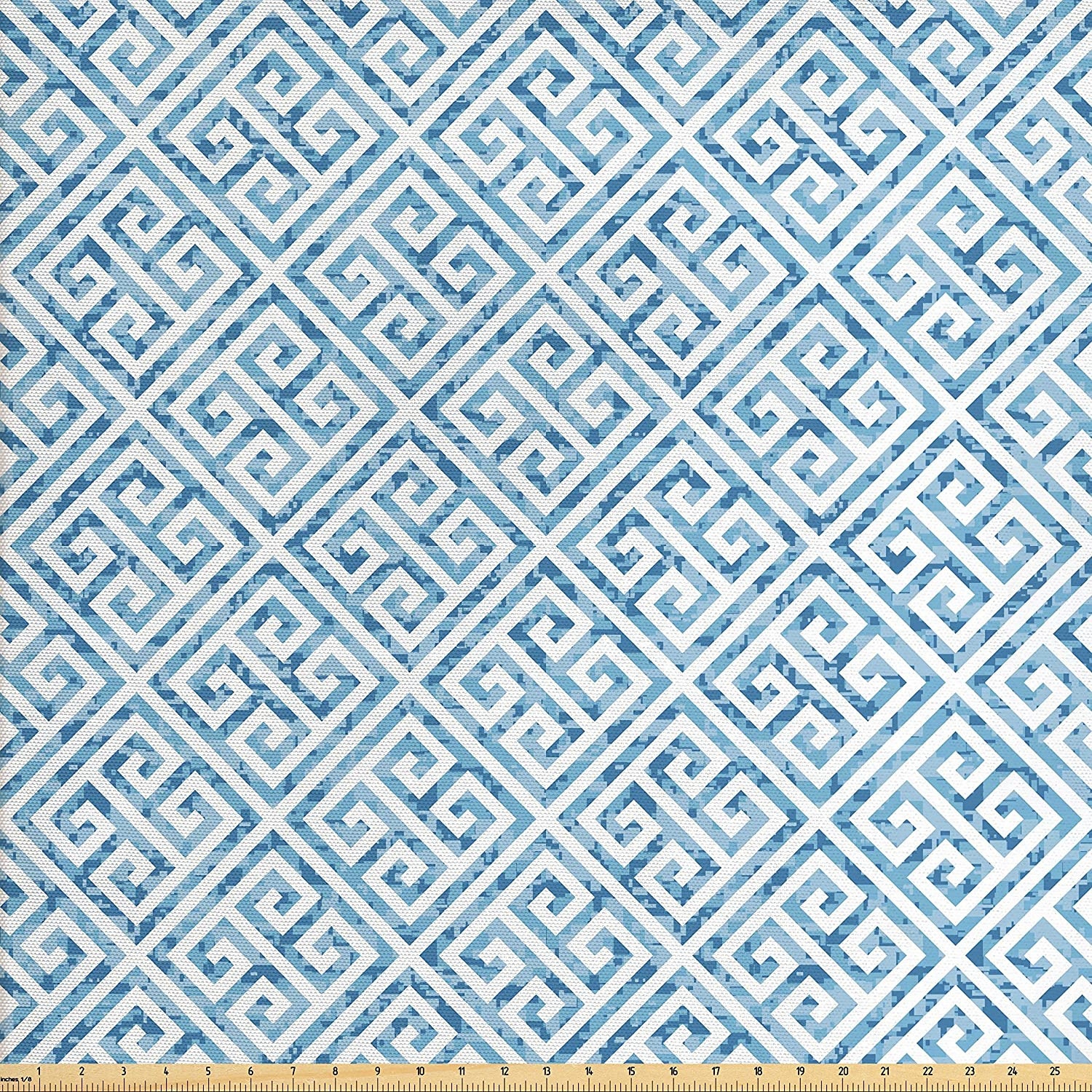 Ambesonne Greek Key Fabric by The Yard, Tile Mosaic Pattern in Blue and White with Antique Meander and Camo Effect, Decorative Fabric for Upholstery and Home Accents, Baby Blue White
