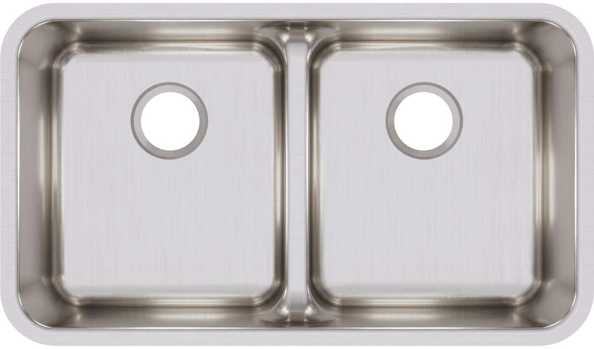 Elkay ELUHAQD3218 Lustertone Classic Equal Double Bowl Undermount Stainless Steel Sink with Aqua Divide