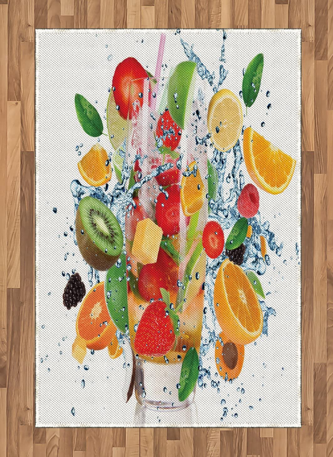 Lunarable Fruits Area Rug, Fruit Cocktail with Splashing Liquid Strawberry Tropics Cheerful Fun Summertime, Flat Woven Accent Rug for Living Room Bedroom Dining Room, 4' X 5.7', Multicolor