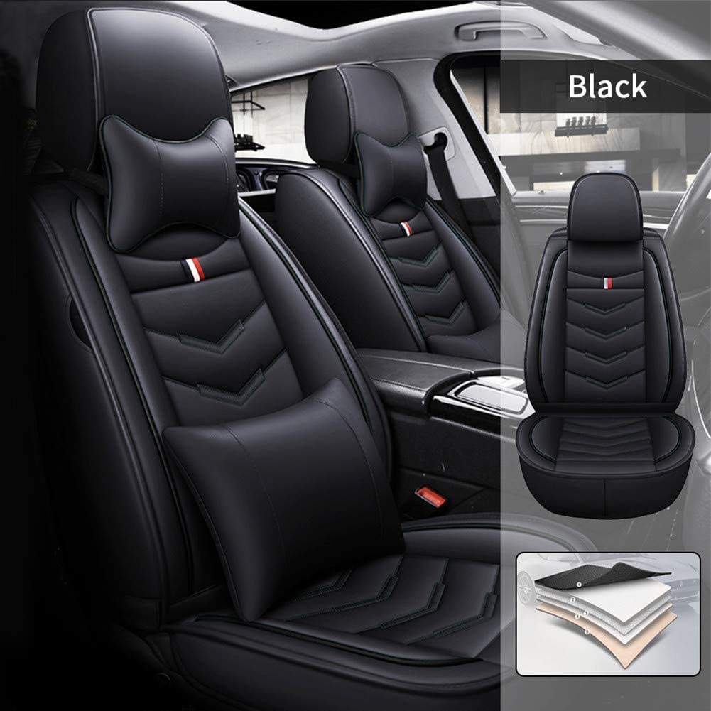 Car Seat Covers for Volkswagen Virtus 2020 5 Seats Full Set Car Seat Cushions with Headrests and Lumbar Pillow Leather Seat Protector Black