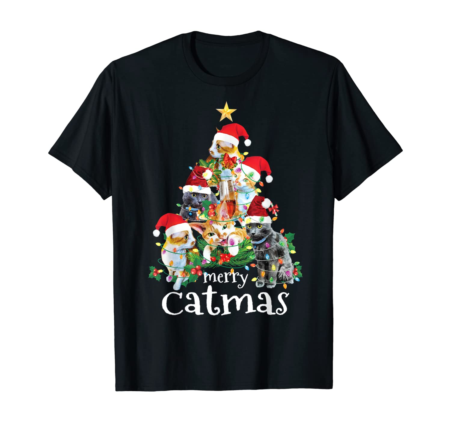 Merry Catmas Funny Gift Cat Mom Cat Dad Christmas Cat T-Shirt