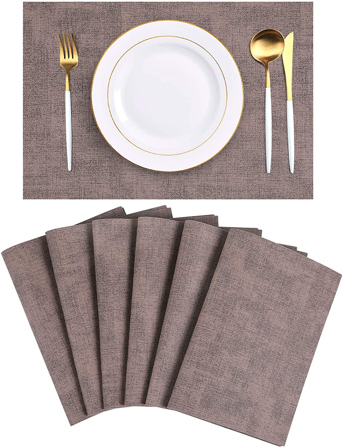 homing Faux Leather Brown Placemats Set of 6 - Waterproof Heat-Resistant Anti-Skid Place mats for Dining Table, Stain-Resistant Easy to Clean