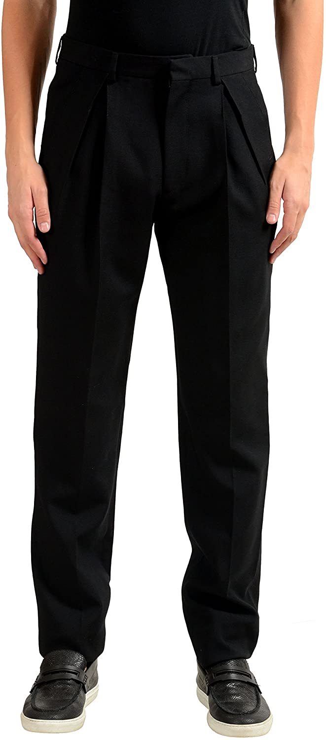 Versace Mens 100% Wool Black Pleated Dress Pants US 32 IT 48