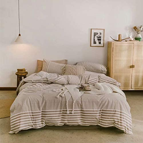 Mikado Simple Style Stripe Four-Piece Bedding 100% Cotton Washed Cotton Duvet Cover(Quilt + Bed Sheet/deep Pocket+2 Pillowcases(Brown&White-deep Pocket-Queen)