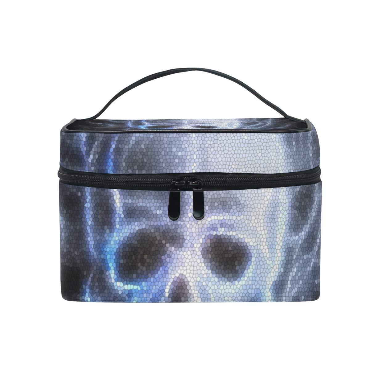 OREZI Skull Fractal Travel Makeup Case Cosmetic Bag for Girl Women, Large Capacity and Adjustable Makeup Bags Travel Waterproof Toiletry Bag Accessories Organizer