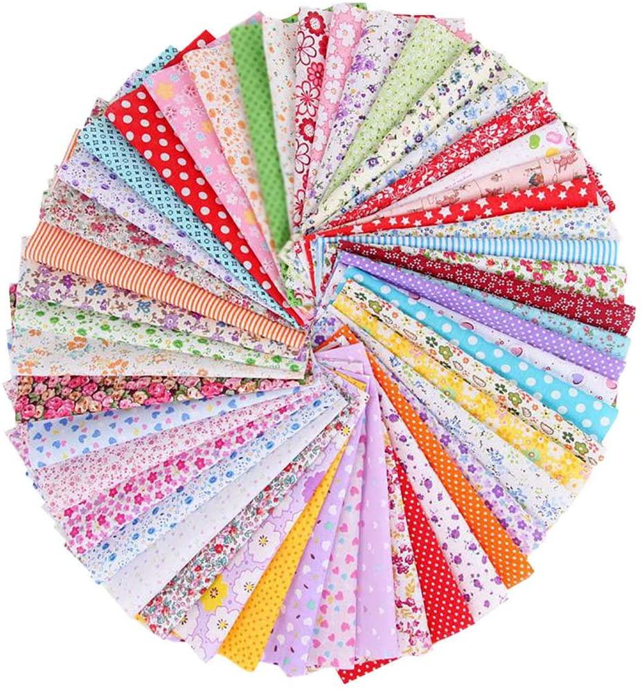 Gowersdee 50PCS Cotton Craft Fabric Bundle Patchwork Squares Sewing Patchwork DIY Floral Fabric Cotton Cloth Sheet