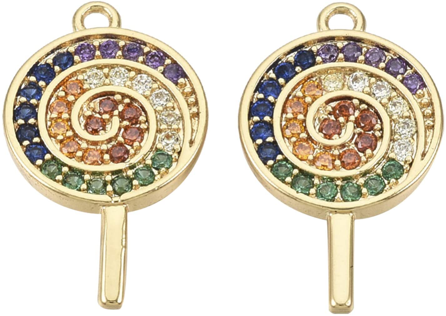 Airssory 10 Pcs Colorful Lollipop Brass Micro Pave Cubic Zirconia Pendants Nickel Free Real 18K Gold Plated Charms for Jewelry Making - 16x9.5mm