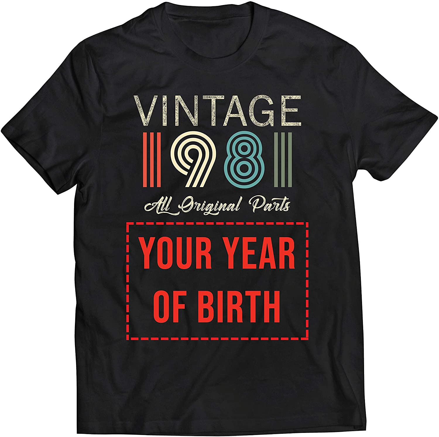 lepni.me Mens T-Shirt Custom with Any Year Vintage All Original Parts Personalized Gift