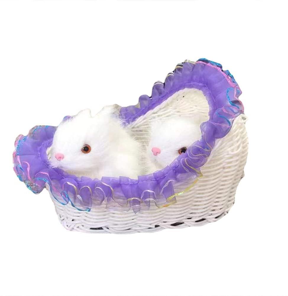 YHCWJZP Home Decoration Ornaments, Realistic Furry Double Rabbit Figurine Sitting in Basket Home Table Decoration - Purple