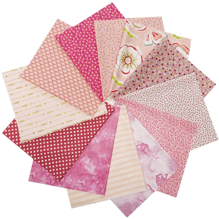 12 PCS 17.5 x 10.5 inches (44 x 25 cm) 100% Cotton Craft Fabric Bundle for Patchwork 12 Different Pattern Pre-Cut Quilting Fabric Fat Eighths Square for DIY Craft Sewing (Pink Flower Print Series)