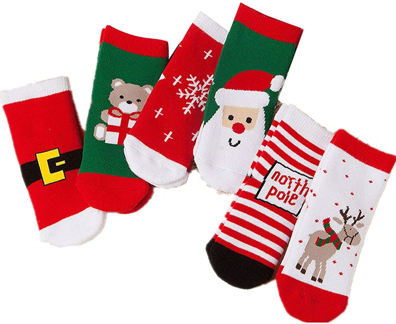 6 Pack of Kids Christmas Socks,Boys Girls Toddler Baby Xmas Festival Socks