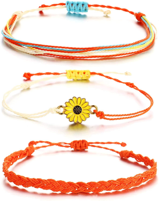 Noharu Vibe Vsco Bracelets Surfer Wave Bracelet for Women Mountain Sunflower Bracelet for Girls Adjustable Friendship Bracelet Waterproof Braided Rope Summer Beach Jewelry