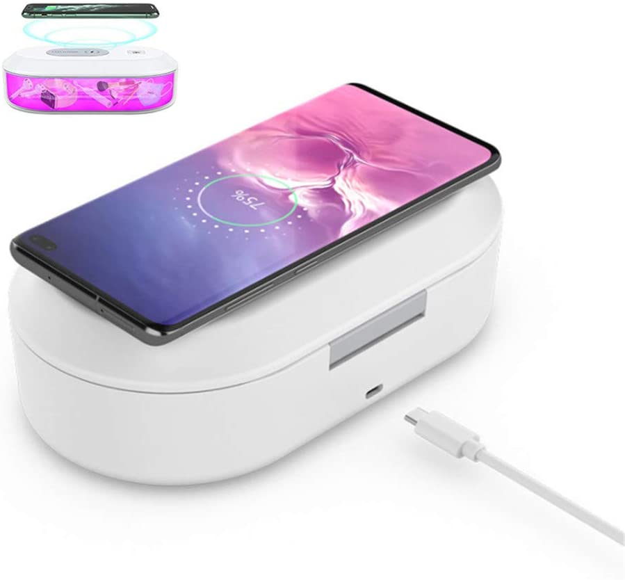 UV Light Sanitizer Box, Portable UV Cell Phone Sanitizer with Aromatherapy Function, Fast Wireless Charger for Smart Phone, Deep UV Disinfection Box for Cell Phone, Watches, Jewelry, Glasses