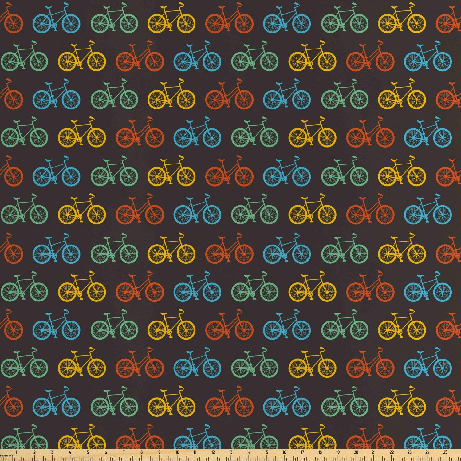 Ambesonne Bicycle Fabric by The Yard, Parading Boys and Girls Bicycle Silhouettes in Vivid Colors on Black Background, Decorative Satin Fabric for Home Textiles and Crafts, Multicolor