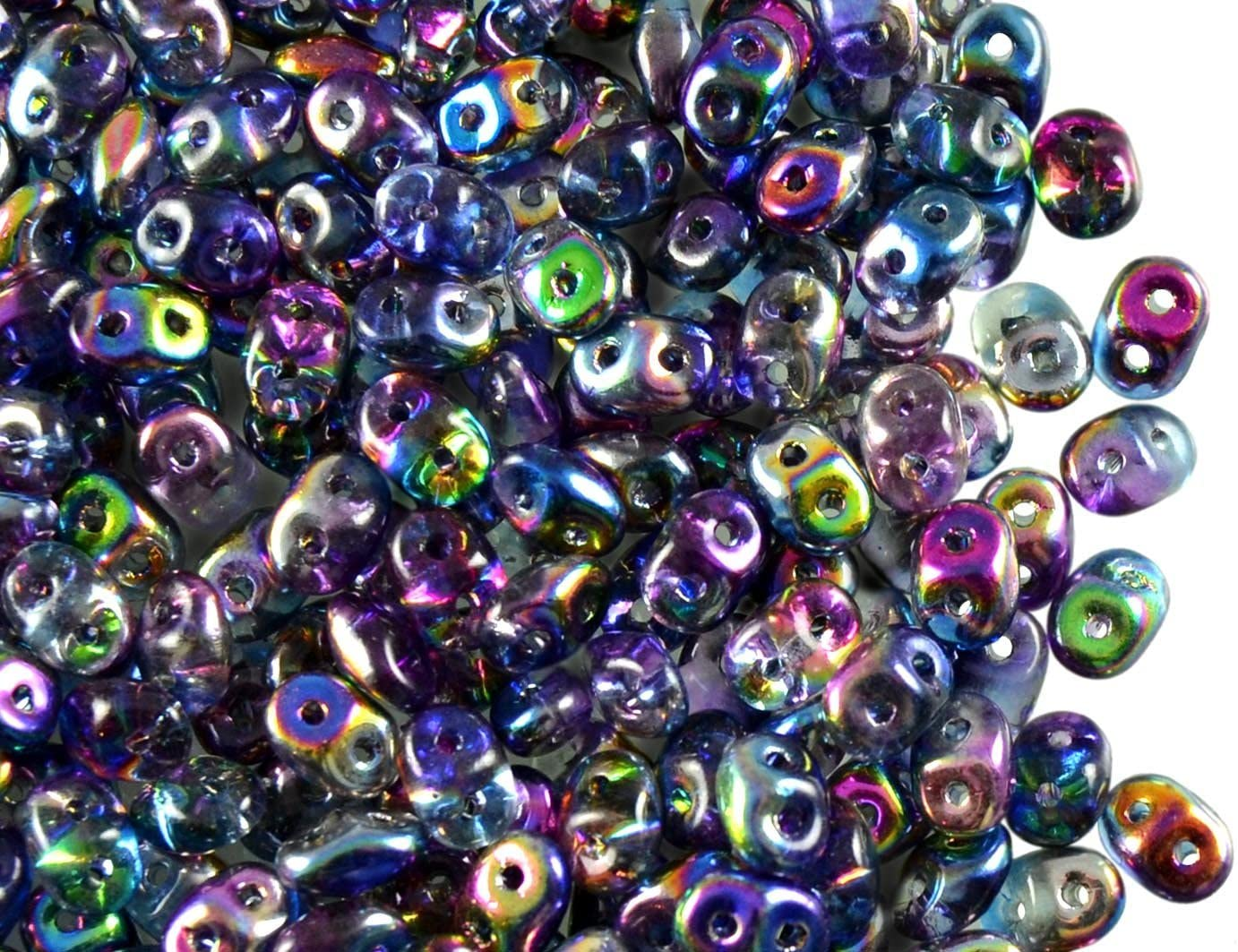 Czech Two-Hole Seed Beads SuperDuo Magic Blue-Pink 0.7oz (20g)