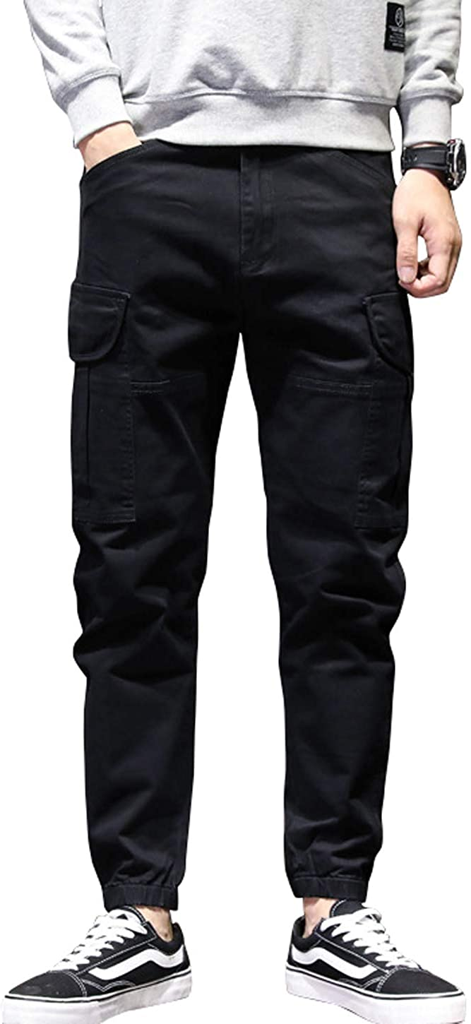 chouyatou Men's Fall Winter Relaxed Fit Twill Casual Harem Pants Jogger Cargo Pants