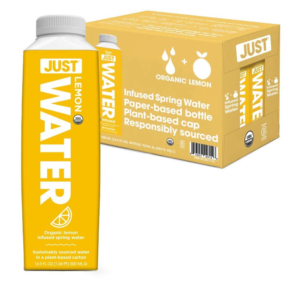 JUST Water Infused - Organic Fruit Flavored Spring Water - Eco-Friendly Boxed Bottled Water - Zero Sugar, Artificial Flavors, or Sweeteners, 8.0 Alkaline pH - Lemon, 16.9 Oz, (Pack of 12)