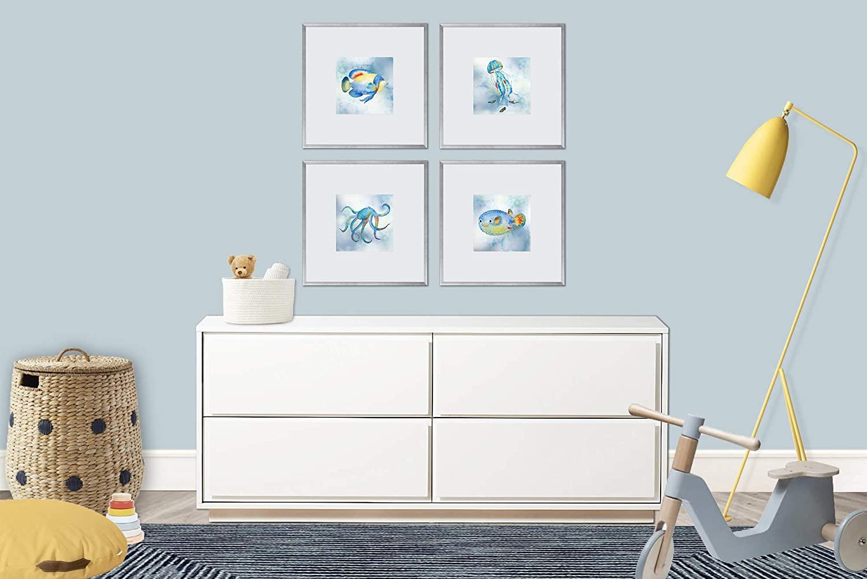 NURSERY WALL ART, UNDER THE SEA WATERCOLOR PAINTINGS, SET OF 4, 8X8 PRINTS