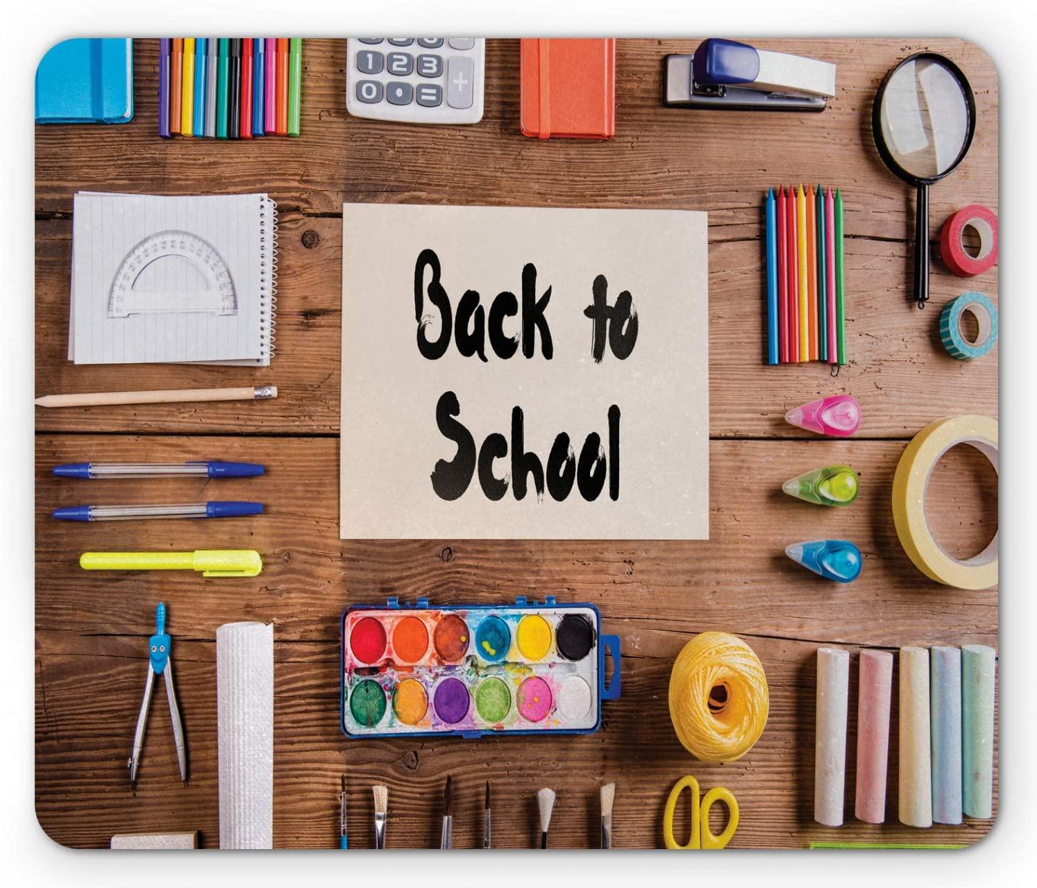 Lunarable Back to School Mouse Pad, Kids Desk Stationary Chalk Calculator Watercolour Paint Supplies Elementary, Rectangle Non-Slip Rubber Mousepad, Standard Size, Multicolor