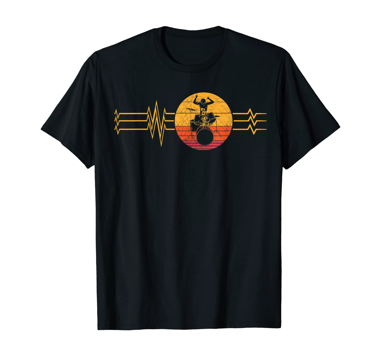 Retro Heartbeat Drummer Lifeline Vintage Music Drum Band T-Shirt