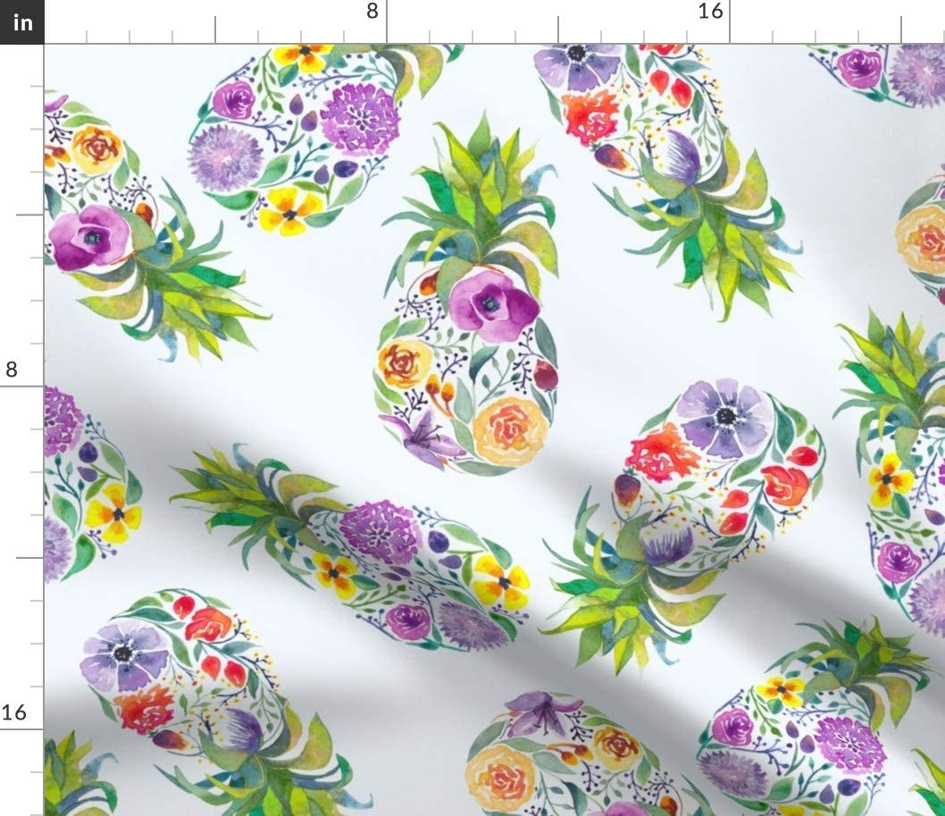 Spoonflower Fabric - Pretty Pineapple Watercolor Fruit Floral Flowers Whimsical Fruits Food Printed on Minky Fabric by The Yard - Sewing Baby Blankets Quilt Backing Plush Toys